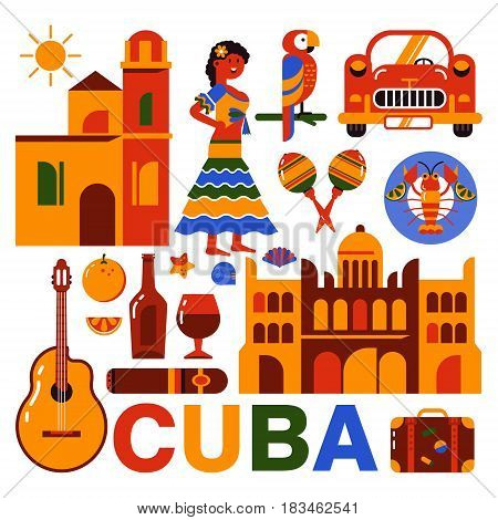 ube illustration. Collection of vector icons of Cuban culture and food. Maracas, guitar, retro car, papaya, the dish with lobster and a portrait of a Cuban woman in trendy flat style