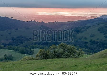 Santa Clara Valley Sunset at Springtime. Joseph D Grant County Park, Santa Clara County, California, USA.