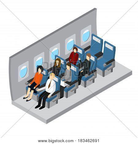 Aircraft Interior Isometric View Jet Passenger on Comfort Seat Flight Economy Class Service. Vector illustration