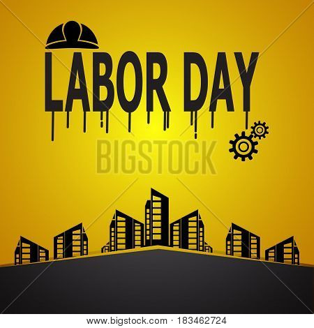 Labour day text and helmet construction concept vector illustration