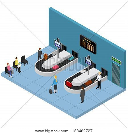 Airport Baggage Reclaim Interior Isometric View Suitcase and Bags on Conveyor Belt Waiting People. Vector illustration