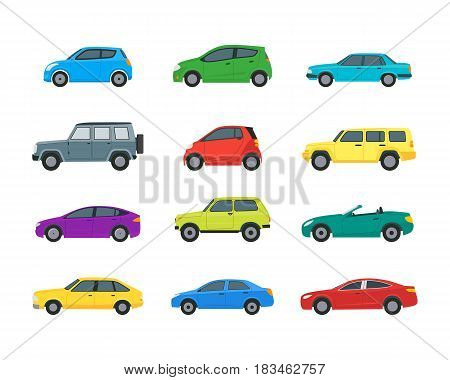 Cartoon Cars Color Icons Set Isolated on a White Background Hatchback, Universal and Sedan. Vector illustration