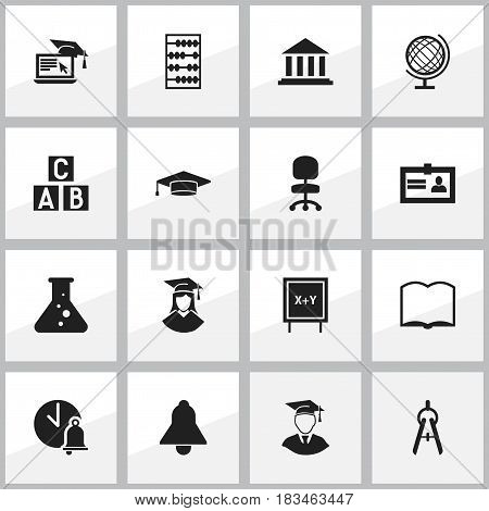 Set Of 16 Editable Graduation Icons. Includes Symbols Such As Graduate, Bell, Work Seat And More. Can Be Used For Web, Mobile, UI And Infographic Design.