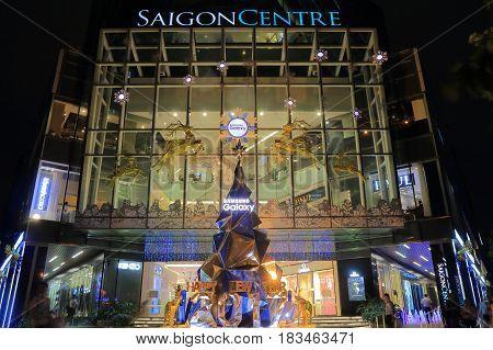 HO CHI MINH CITY VIETNAM - NOVEMBER 30, 2016: Unidentified people visit Saigon Centre department store.