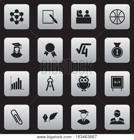 Set Of 16 Editable School Icons. Includes Symbols Such As Night Fowl, Graduated Female, Math Root And More. Can Be Used For Web, Mobile, UI And Infographic Design.