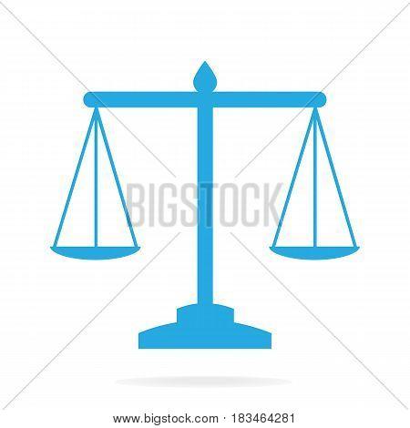 Justice scale icon symbol vector blue illustration