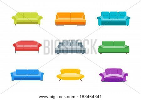 Cartoon Sofa or Divan Color Icons Set Flat Style Design Elements Comfortable Furniture for Home and Office Interior. Vector illustration