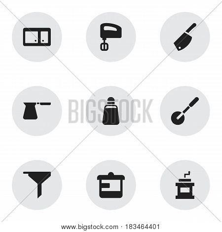 Set Of 9 Editable Cook Icons. Includes Symbols Such As Paprika, Filtering, Backsword And More. Can Be Used For Web, Mobile, UI And Infographic Design.
