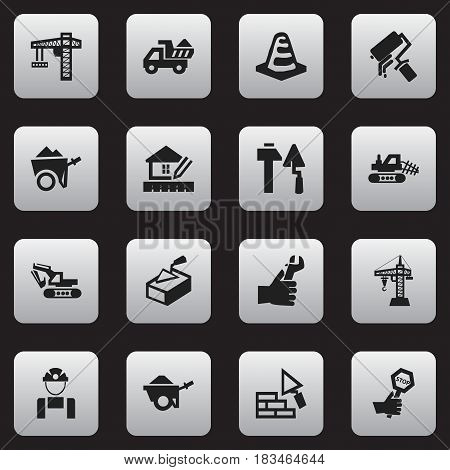 Set Of 16 Editable Construction Icons. Includes Symbols Such As Facing, Endurance, Mule And More. Can Be Used For Web, Mobile, UI And Infographic Design.