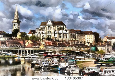 Colorful painting of Abbey of Saint-Germain, Auxerre, France