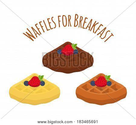 Set of belgian waffles - chocolate, cream and berries. Tasty breakfast in restaurant. Made in cartoon flat style.