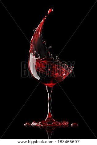 red wine glass on a isolated black background. 3d rendering.