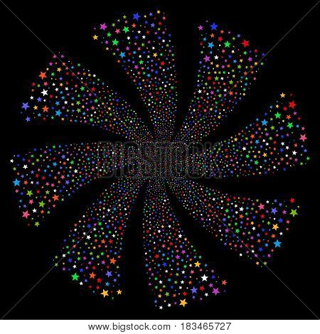 Fireworks Star fireworks swirl rotation. Vector illustration style is flat bright multicolored iconic symbols on a black background. Object twirl organized from random design elements.