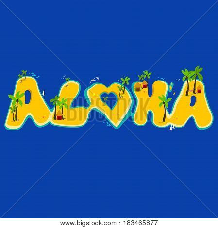Vector illustration of tropical islands with a coconut palm trees, fish, sailing ships and sea shells. Aloha hand lettering with exotic islands.