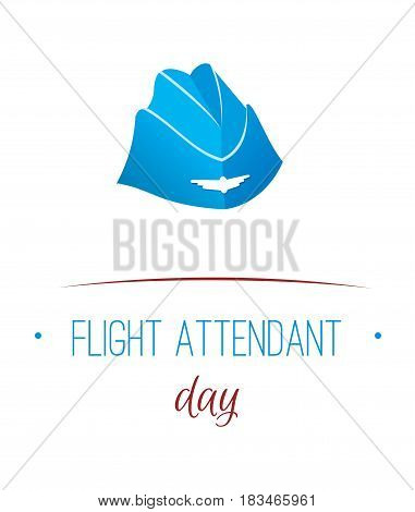 Greeting card. July 12, the world day of flight attendant. Vector illustration for banner, girl stewardes.