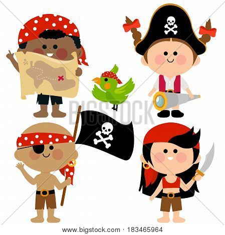 Vector illustration set of children pirates. Boys and girls dressed in pirate costumes.