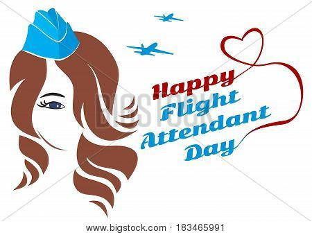 Greeting card. July 12, the world day of flight attendant. Vector illustration for banner, girl stewardess.