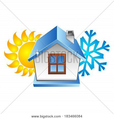 House air conditioner symbol. Sun and snowflake.