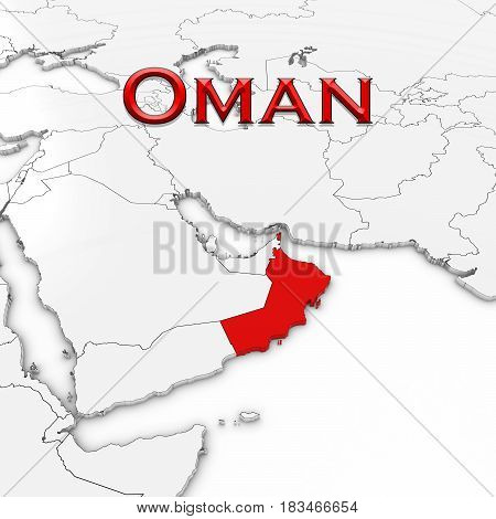 3D Map Of Oman With Country Name Highlighted Red On White Background 3D Illustration