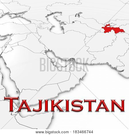 3D Map Of Tajikistan With Country Name Highlighted Red On White Background 3D Illustration