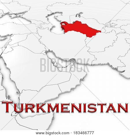 3D Map Of Turkmenistan With Country Name Highlighted Red On White Background 3D Illustration