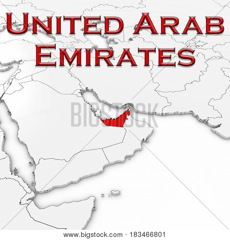 3D Map Of The United Arab Emirates With Country Name Highlighted Red On White Background 3D Illustra