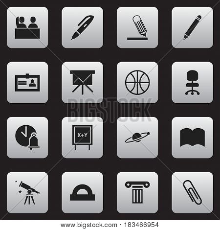Set Of 16 Editable Science Icons. Includes Symbols Such As Binoculars, Blackboard, Student And More. Can Be Used For Web, Mobile, UI And Infographic Design.