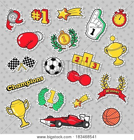 Sports Winner Badges, Patches and Stickers with Cups, Medals. Vector Retro doodle