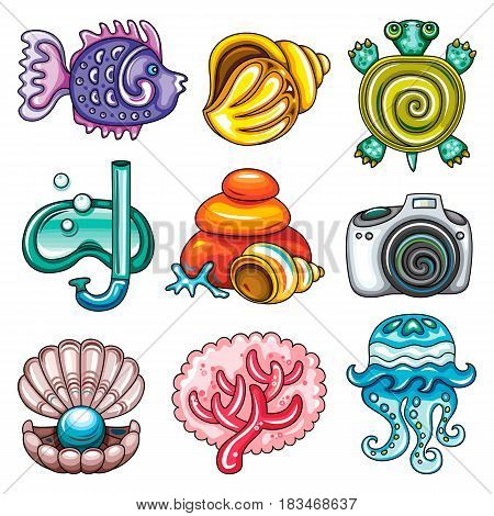 Vector summer icon set. Tropical fish, decorative seashell and jellyfish, cute turtle, diving mask, coral reef elements, shooting camera, open pearl shell. Beach holiday party, travel and vacation, sea and sun
