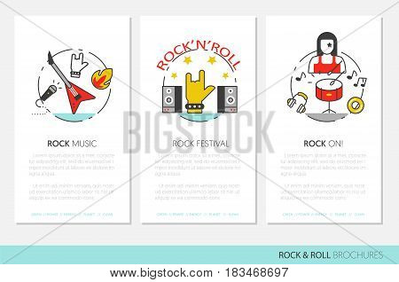 Rocknroll Business Brochure Template with Linear Thin Line Vector Icons