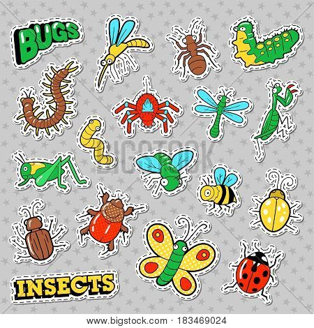 Bugs and Insects Patches, Stickers, Badges Set for Prints and Textile. Vector Doodle