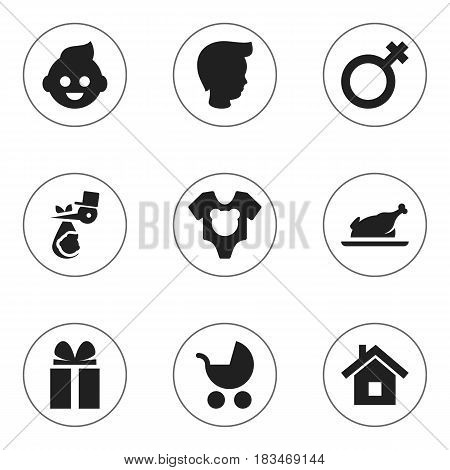 Set Of 9 Editable Kin Icons. Includes Symbols Such As Gift, Home, Bodysuit And More. Can Be Used For Web, Mobile, UI And Infographic Design.