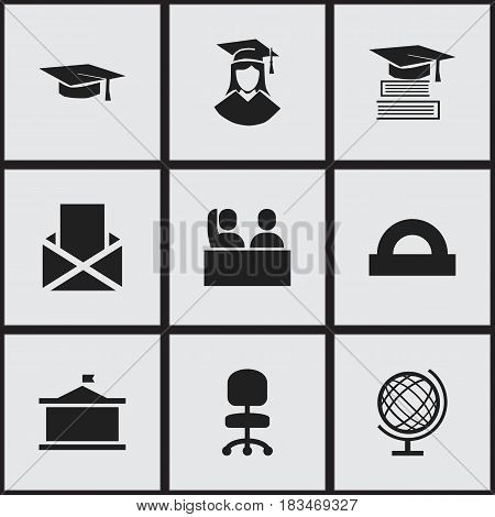 Set Of 9 Editable Graduation Icons. Includes Symbols Such As Envelope, Education, Univercity And More. Can Be Used For Web, Mobile, UI And Infographic Design.