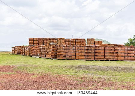 Bricks lying together in order Building materials. The construction industry. Renovation of premises.