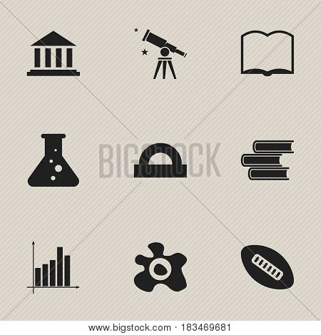 Set Of 9 Editable University Icons. Includes Symbols Such As Binoculars, Library, Book And More. Can Be Used For Web, Mobile, UI And Infographic Design.