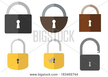 Open and closed lock. Flat design vector illustration vector.