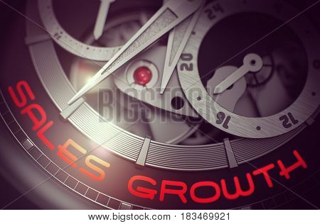 Men Watch Machinery Macro Detail with Inscription Sales Growth. Business and Work Concept with Lens Flare. 3D Rendering.