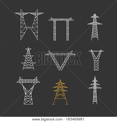 Silhouettes of High Voltage Electric Post Icon Set Thin Line on a Black Background Electricity Infrastructure Technology. Vector illustration