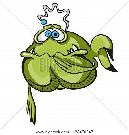 Nauseous green fish isolated on white background.  Funny cartoon image with simple gradients for printed materials and backgrounds.