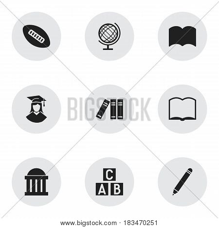 Set Of 9 Editable University Icons. Includes Symbols Such As Book, Alphabet Cube, Pencil And More. Can Be Used For Web, Mobile, UI And Infographic Design.