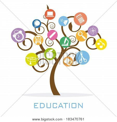 Tree with education icons. Vector isolated with white background