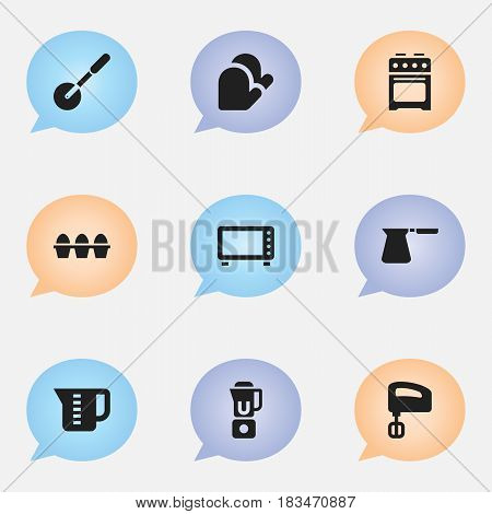 Set Of 9 Editable Cooking Icons. Includes Symbols Such As Knife Roller, Stove, Agitator And More. Can Be Used For Web, Mobile, UI And Infographic Design.