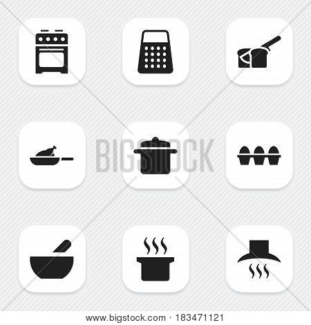 Set Of 9 Editable Meal Icons. Includes Symbols Such As Soup Pot, Stove, Cookware And More. Can Be Used For Web, Mobile, UI And Infographic Design.