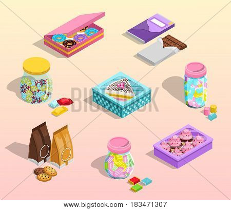 Confectionery packaging cartoon set with chocolate and cookies isolated vector illustration