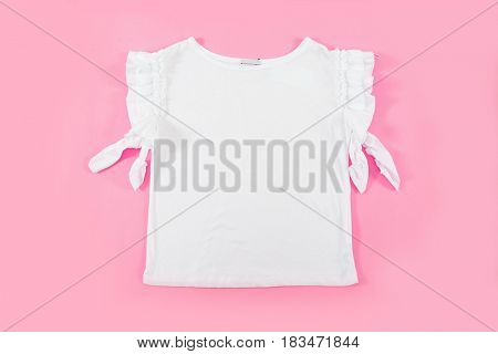 female white dress –pink background