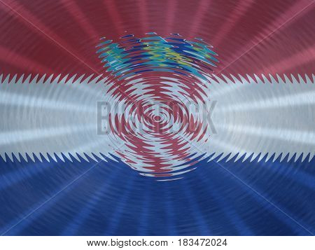 Croatia flag background with ripples and rays illustration