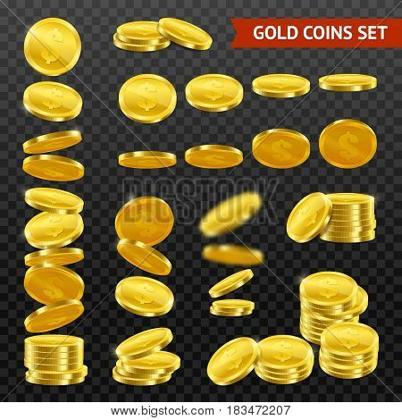 Gold coins with dollar symbol collection falling in stacks rolls on black transparent background realistic vector illustration