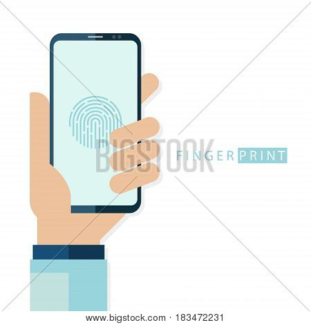 Fingerprint touch ID concept with human hand holding smartphone. Personal access protection technology. Flat design vector illustration.