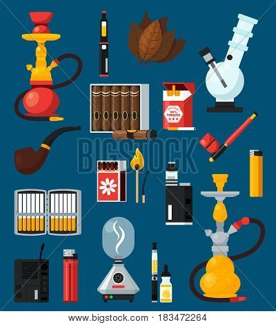 Smoking flat colored icons set with cigarettes cigar matches lighters bong hookah pipe tobacco leaves flat vector illustration