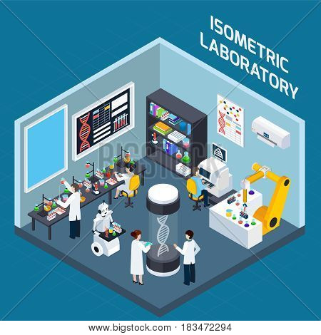 Biochemical laboratory interior isometric design concept with tools for genetics research and highly technological equipment flat vector illustration